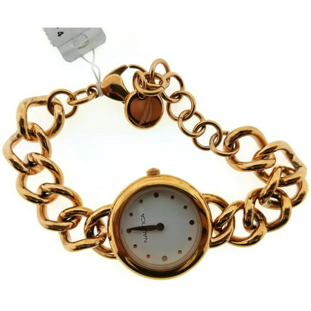 Nautica NAL15006M Women Gold Chain Bracelet With White Analog Dial Genuine Watch