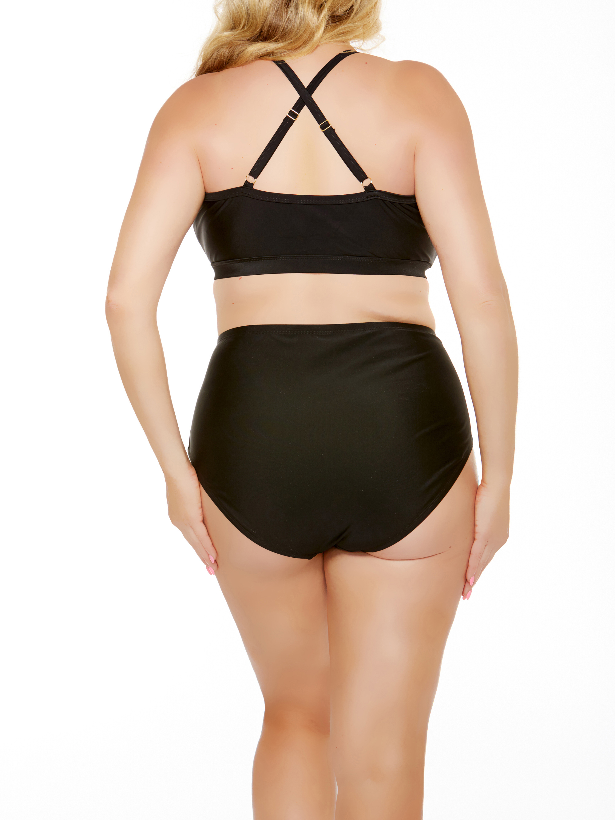 3ddd2660 Time and Tru - Women's Plus-Size High-Neck Black & White Mesh Halter Bikini  Top - Walmart.com