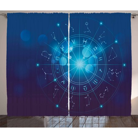Astrology Curtains 2 Panels Set Fortune Telling Birth Chart Zodiac Signs In Space Geometrical Image