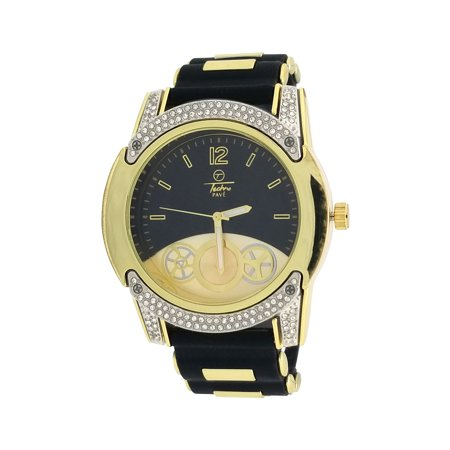 Techno Pave 14K Gold Plated Half Iced Out Two Tone Gold Black Dial Chronograph Style Silicone Bullet Band Wrist Watch