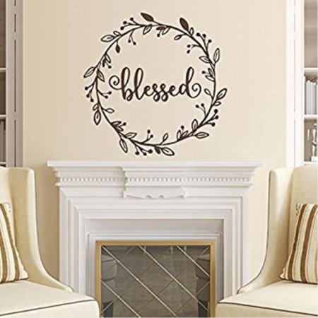 Wall Decal Decor Blessed Hand Drawn Wreath Vinyl Wall Decal Rustic decal Thanksgiving decor Holiday decor Thankful Grateful Bles