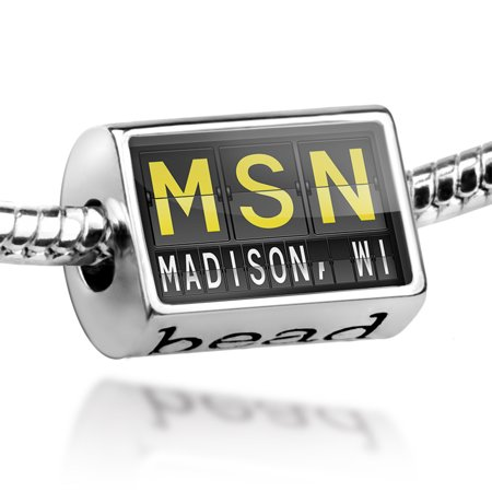 Bead MSN Airport Code for Madison, WI Charm Fits All European Bracelets - Party Store Madison Wi