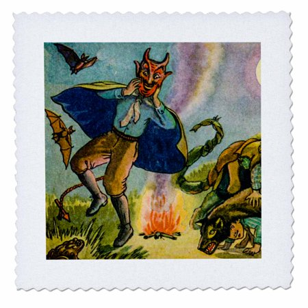 3dRose Vintage Halloween Postcard Early 1900s Ghoulish Devil - Quilt Square, 25 by 25-inch - Halloween Pops Quilt Kit