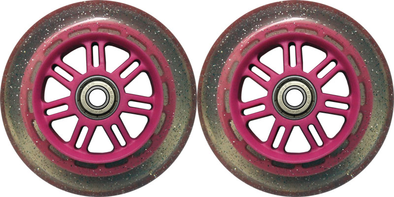Scooter Ruedas de 100mm 88a recambio Pack 2 para navajas Kick Scooter brillo/color de rosa + TGM en Veo y Compro