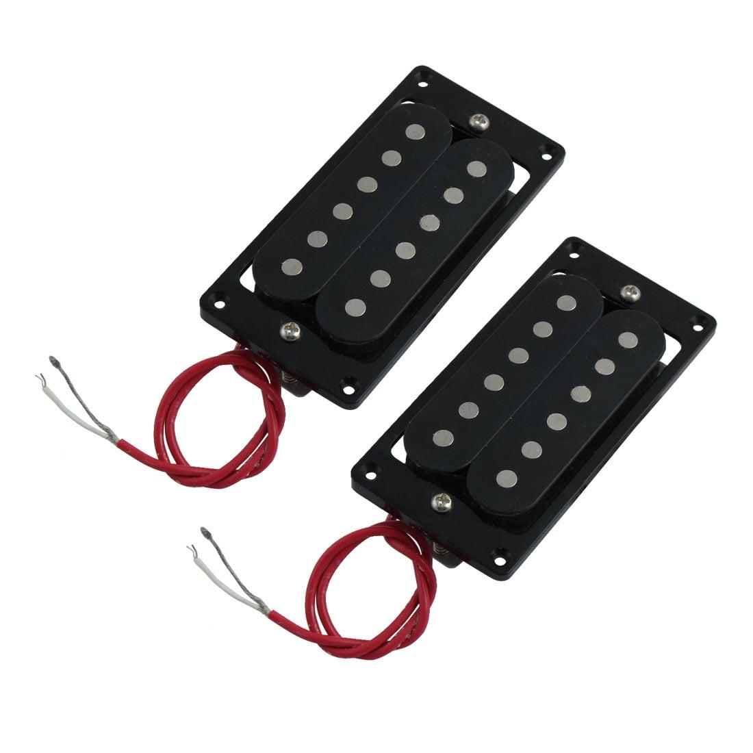 Metal Frame Electric 6 String Double Coil Neck Bridge Guitar Pickup Black 2pcs