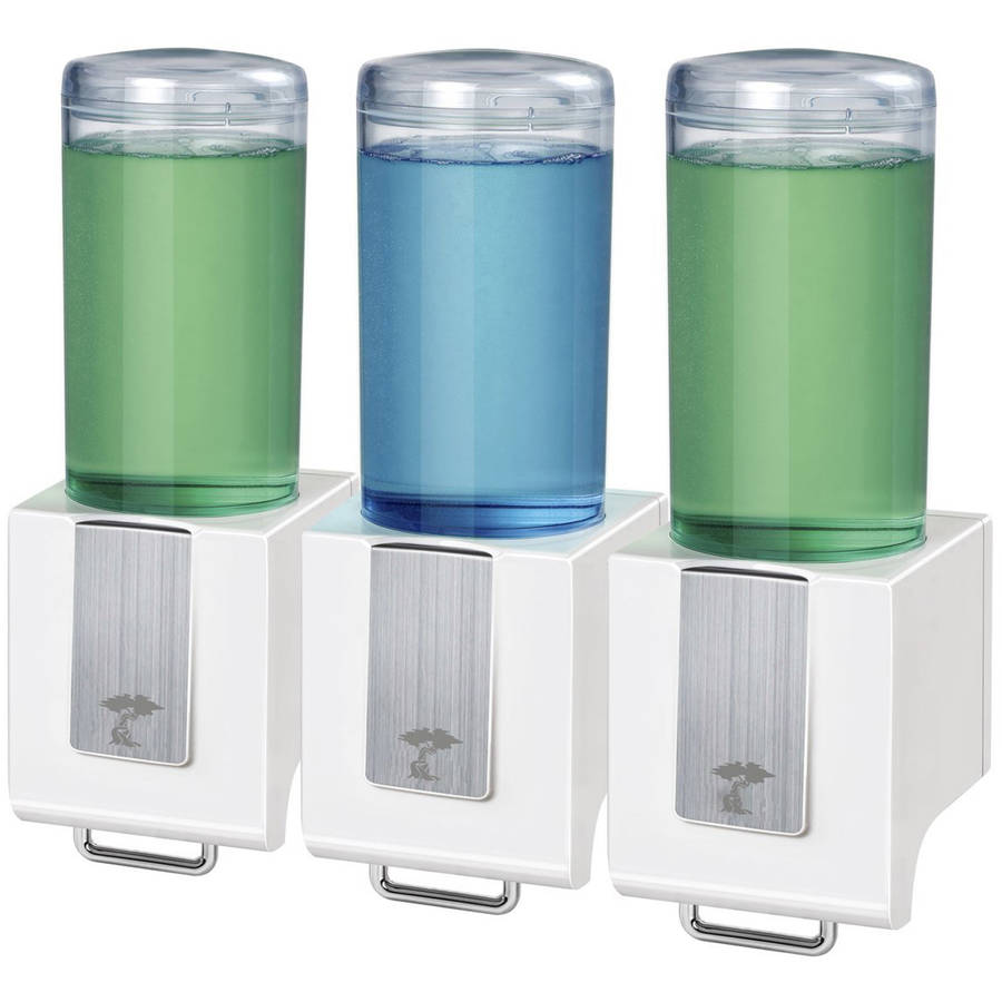 ToiletTree Products Deluxe Shampoo and Soap Dispensers, Triple White
