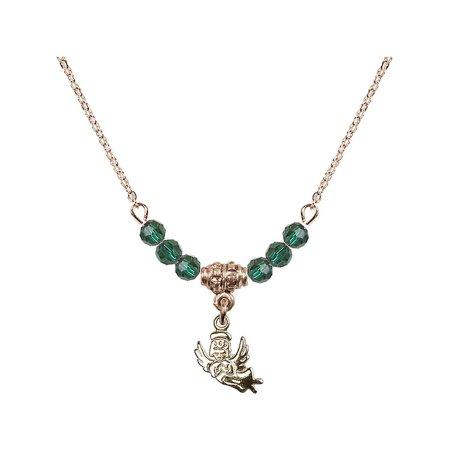 18-Inch Hamilton Gold Plated Necklace with 4mm Green May Birth Month Stone Beads and Guardian Angel Charm (Guardian Angel Charms For Men)