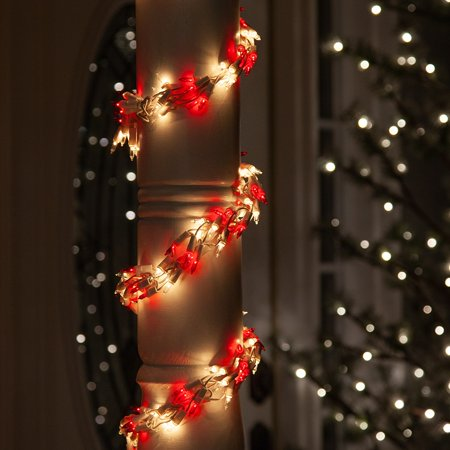 Wintergreen Lighting Red/Clear Cluster String Lights Garland, 18ft, 600 Lights, White Wire Christmas Patio Porch Railing Banister Party Lights ()