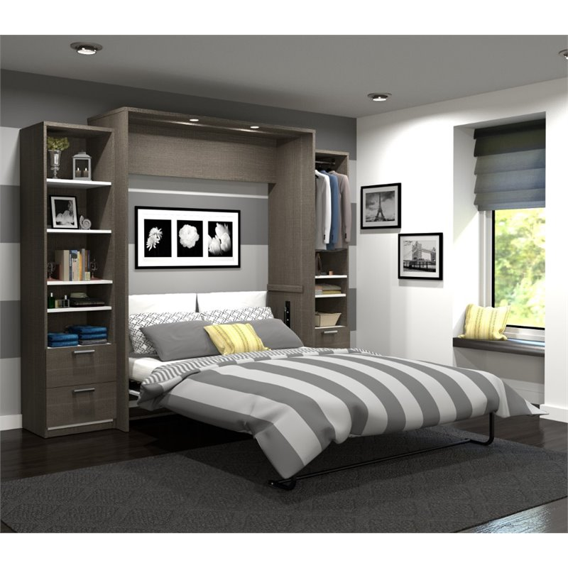 """Cielo by Bestar Premium 104"""" Queen Wall Bed kit in Bark Gray and White"""