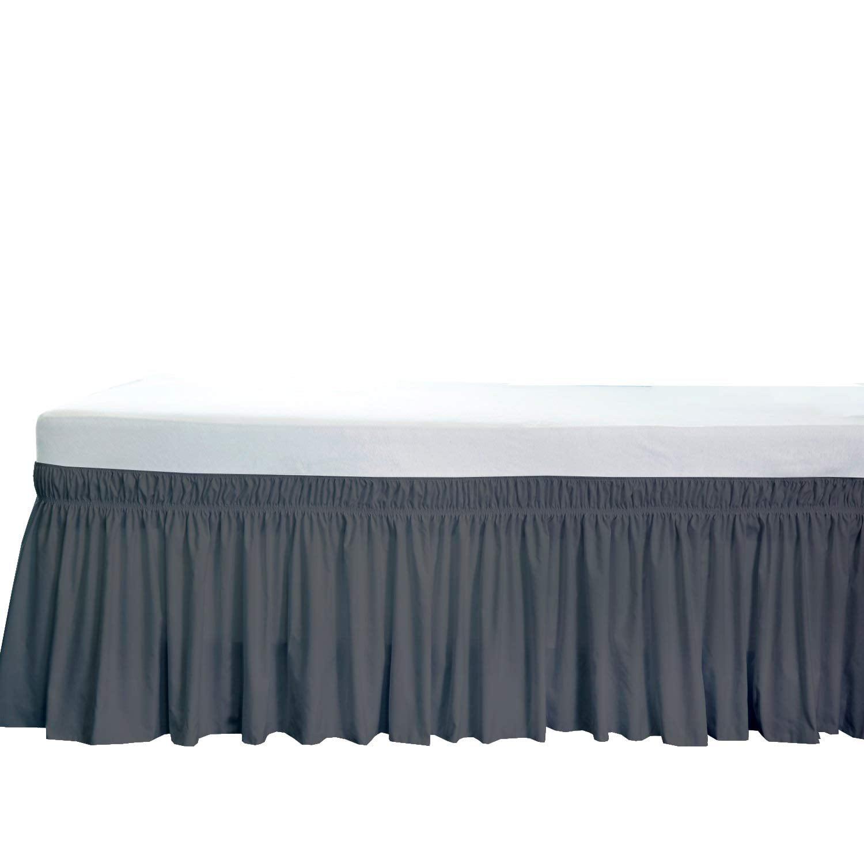 Solid Dark GRAY SPLIT Corner Ruffle Bed Skirt  650 TC Cotton All Size Drop SALE