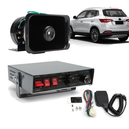 100 W Loud Police Siren 8 Tones Emergency Warning Siren with PA Speaker w/ Handheld Microphone System Kit Vehicle Siren Box for for cars, trucks and buses