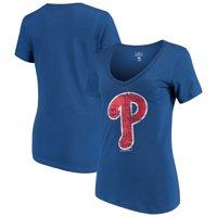 Women's 5th & Ocean by New Era Royal Philadelphia Phillies V-Neck Team T-Shirt