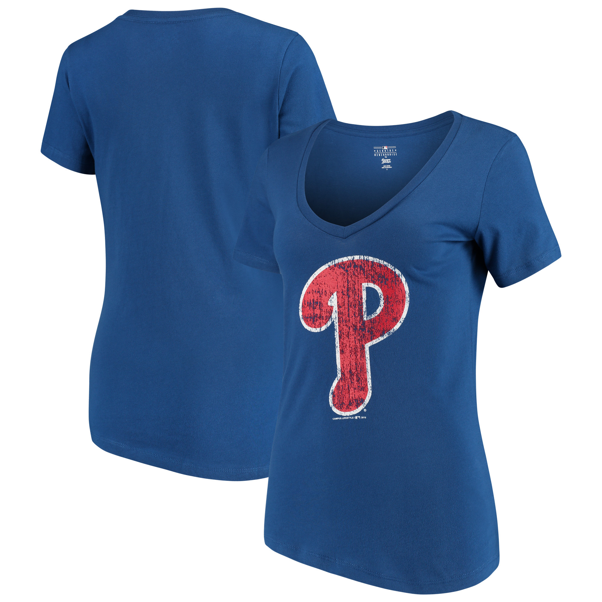 Philadelphia Phillies New Era Women's V-Neck T-Shirt - Royal