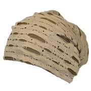 David & Young Womens Torn Design W/Sequins Lightweight Knit Beanie (One Size) - Taupe