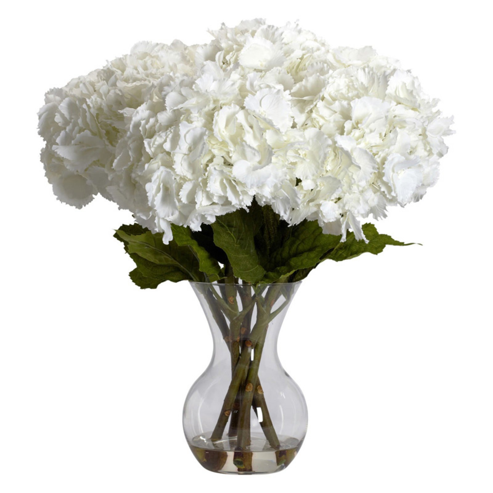 Nearly Natural Large Hydrangea with Vase Silk Flower Arrangement