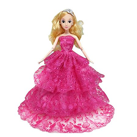 Barbie Strapless Gown - 1 PCS Four Layers Embroidery Lace Luxurious Handmade Princess Skirt Strapless Evening Party Gown Dress for Barbie Doll Clothes Shoes Doll House Play Accessories Pink Red