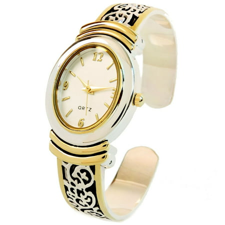 - 2Tone Western Style Decorated Oval Face Women's Bangle Cuff Watch