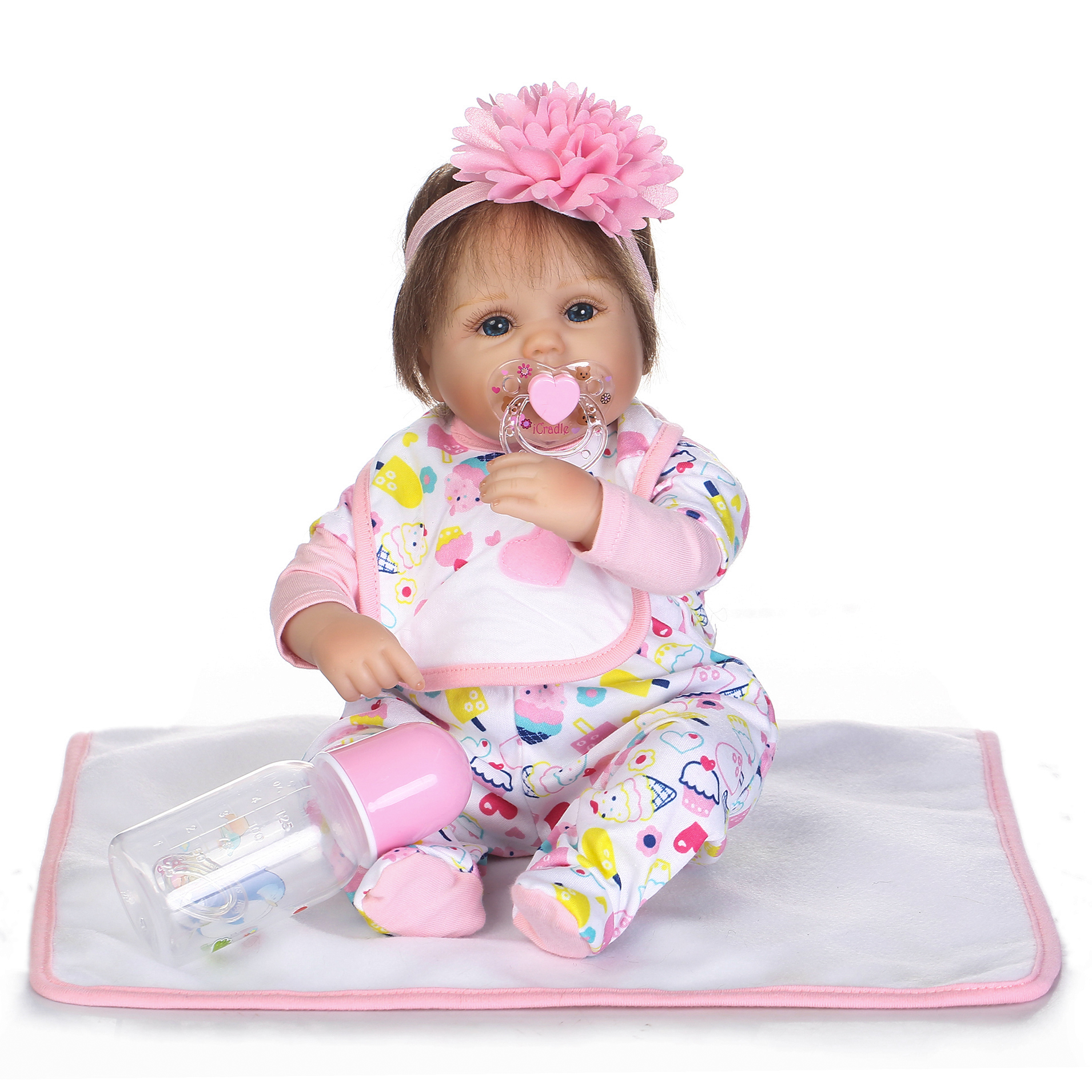 NPK Collection Reborn Baby Doll Soft Silicone 18inch 45cm Magnetic Lovely Lifelike Cute Lovely Baby Ice cream set doll