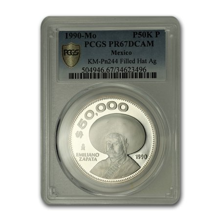 1990-Mo Mexico Silver 50,000 Peso Pattern PR-67 PCGS (Filled hat)