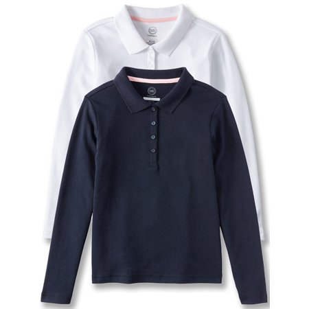 Girls School Uniform Long Sleeve Interlock Polo, 2-Pack Value Bundle