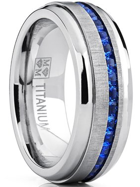 Men's Titanium Wedding Band Engagement Ring W/ Blue Simulated Sapphire Cubic Zirconia Princess CZ