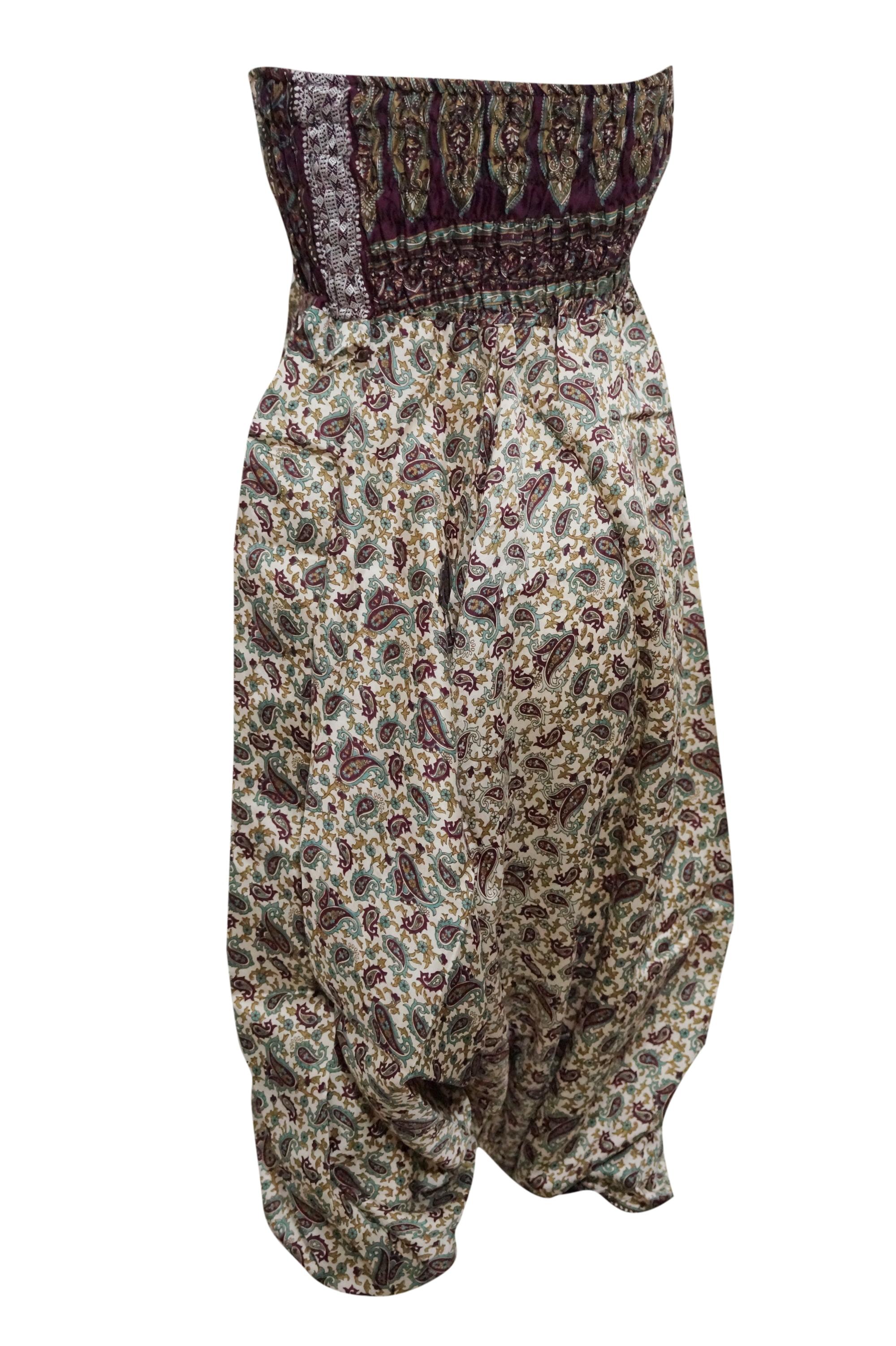 0d03a447d6fb Mogul Interior - Mogul Women s Vintage Harem Pant Pink Beige Silk Sari  Jumpsuit Dress - Walmart.com