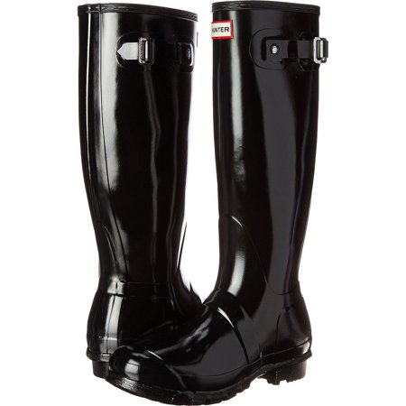 Hunter Women's Original Tall Gloss Rain Boots (Black / Size -