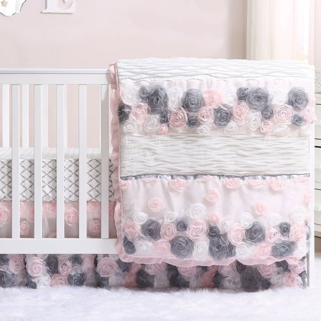 Colette Pink And Grey Floral 5 Piece Baby Girl Crib