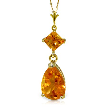 ALARRI 2 Carat 14K Solid Gold Dance Me Citrine Necklace with 18 Inch Chain