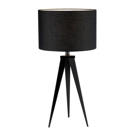 Adesso Director Collection Black Modern Side Corner Tripod Table Lamp with Shade