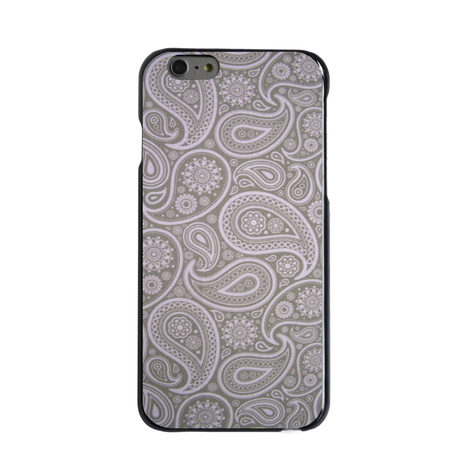 "CUSTOM Black Hard Plastic Snap-On Case for Apple iPhone 6 PLUS / 6S PLUS (5.5"" Screen) - Grey Black Paisley"