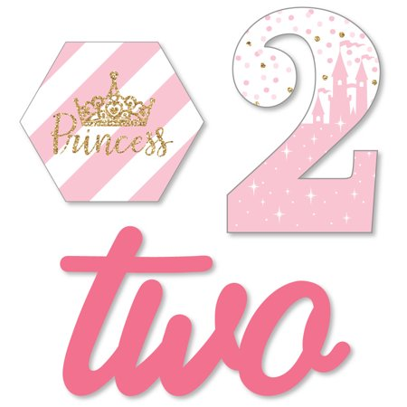 2nd Birthday Little Princess Crown - DIY Shaped Pink and Gold Princess Second Birthday Party Cut-Outs - 24 Count