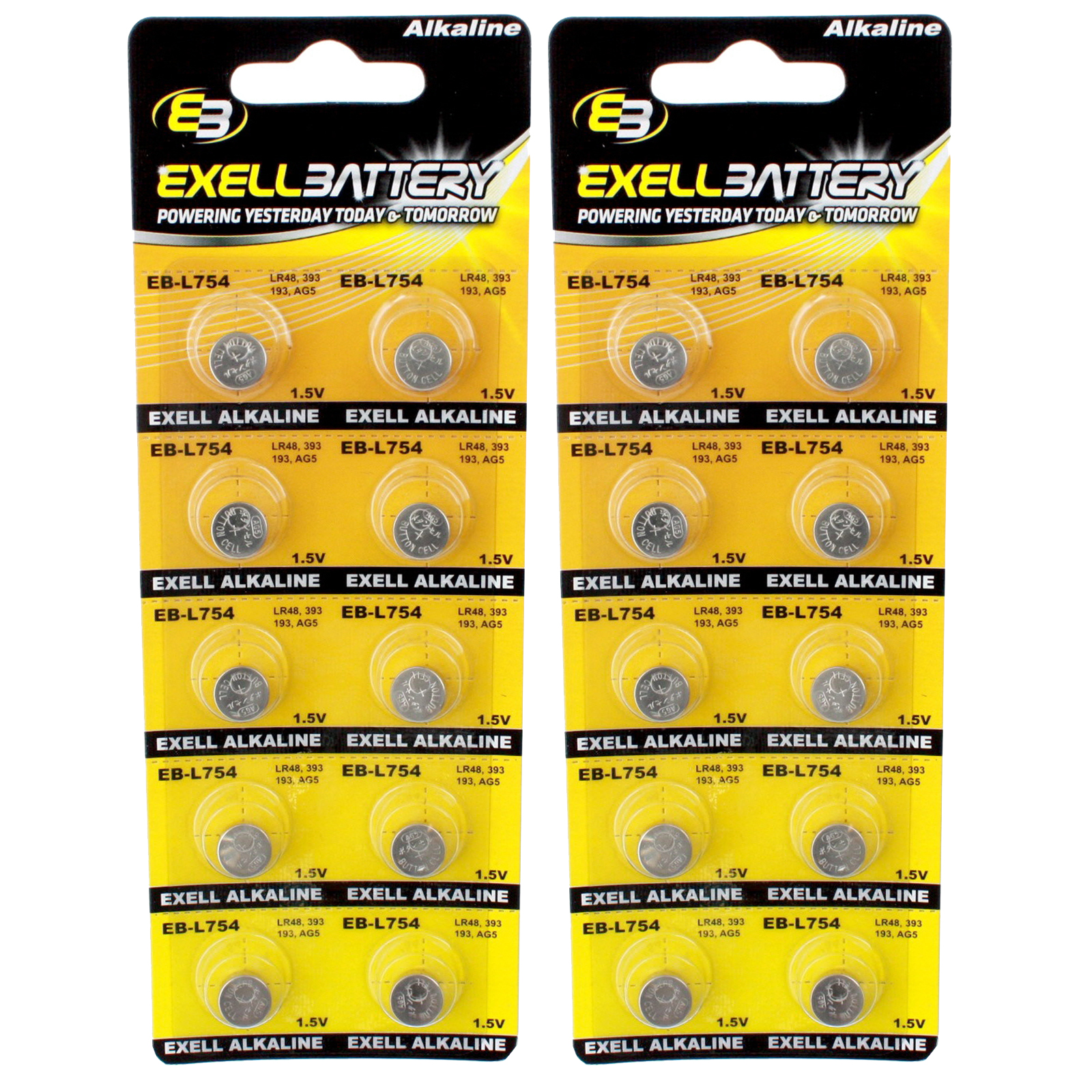 2pc 10pk Exell EB-L754 Alkaline 1.5V Watch Battery Replaces AG5 393