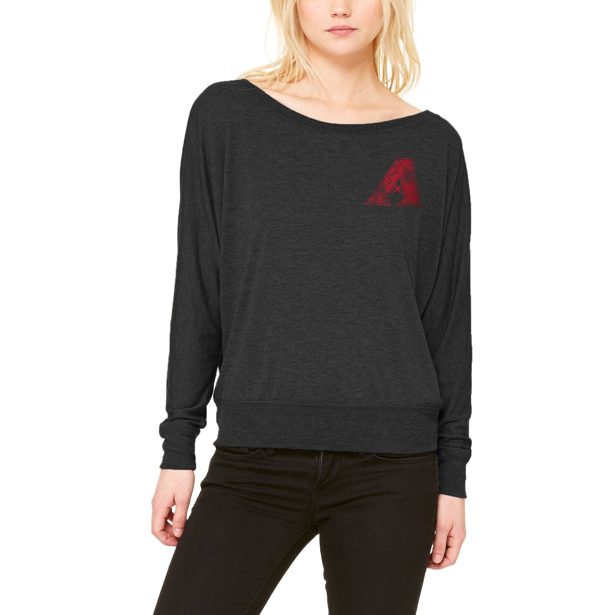 Arizona Diamondbacks Let Loose by RNL Women's Winning Off-Shoulder Long Sleeve T-Shirt - Black