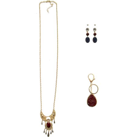 - Druzy Stone Gold-Tone Necklace, Earrings and Keychain Gift Set, 3-Piece