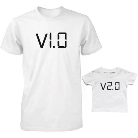 V1 0 And V2 0 Dad And Baby Matching T Shirts