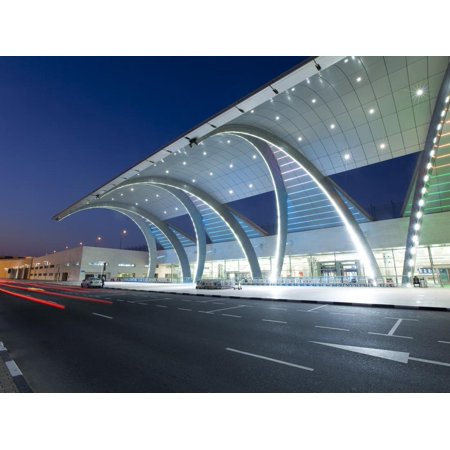 Stylish Modern Architecture of Terminal 3 Opened in 2010, Dubai International Airport Print Wall Art By Gavin Hellier