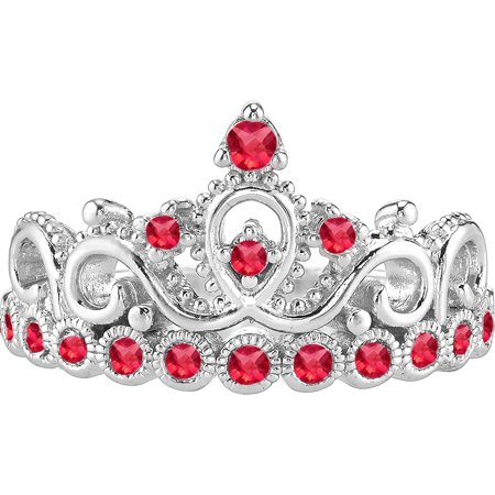 14K White Gold Ruby Crown Ring (July) (7)
