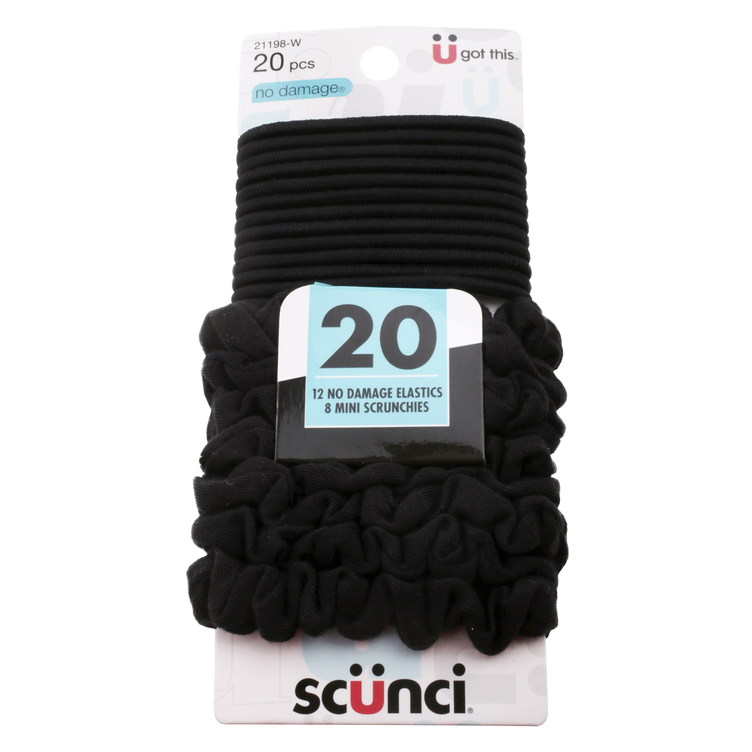 Scunci No Damage Super Comfy Elastics and Mini Scrunchies, 20-pack