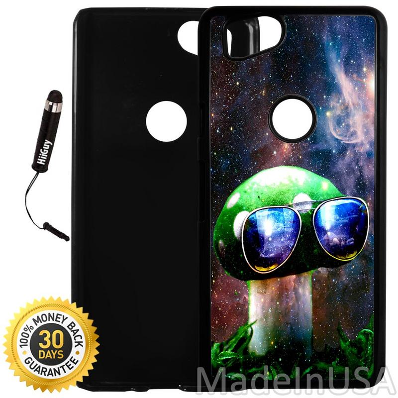 Custom Google Pixel 2 Case (Cool Mushroom Space Galaxy) Plastic Black Cover Ultra Slim | Lightweight | Includes Stylus Pen by Innosub