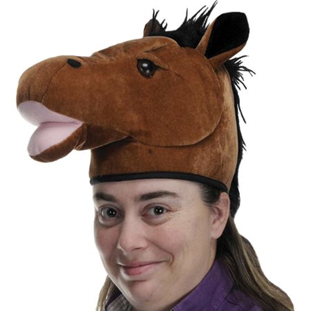 Plush Horse Head Hat Party Accessory (1 count) - Horse Hat