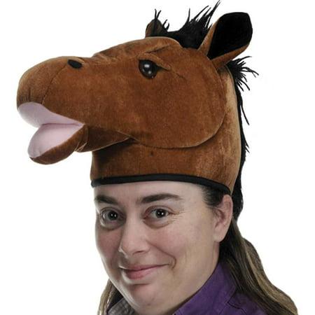 Plush Horse Head Hat Party Accessory (1 count) (1/Pkg)](Horse Hat)