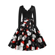 Women's Christmas Vintage Long Sleeves Party Evening Prom Skater Midi Dress