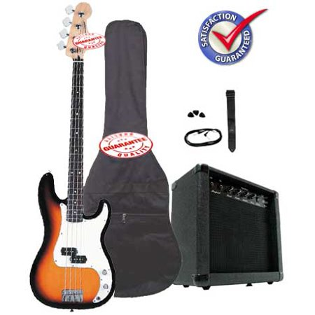 Electric Bass Guitar Pack with 20 Watts Amplifier, Gig Bag, Strap, and Cable,