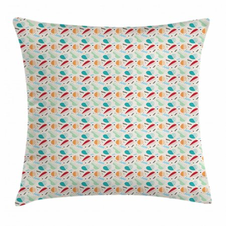Vintage Throw Pillow Cushion Cover, Abstract Fruit Shapes Pear Apricot Carrot and Apples with Swirled Lines and Dots, Decorative Square Accent Pillow Case, 16 X 16 Inches, Multicolor, by Ambesonne