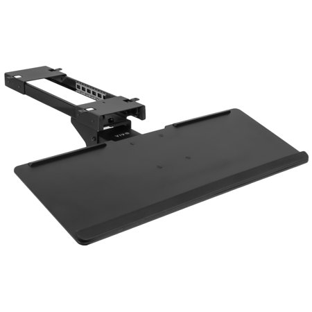 VIVO Black Adjustable Computer Keyboard & Mouse Platform Tray Deluxe Rolling Track Under Table Desk Mount (MOUNT-KB04C)
