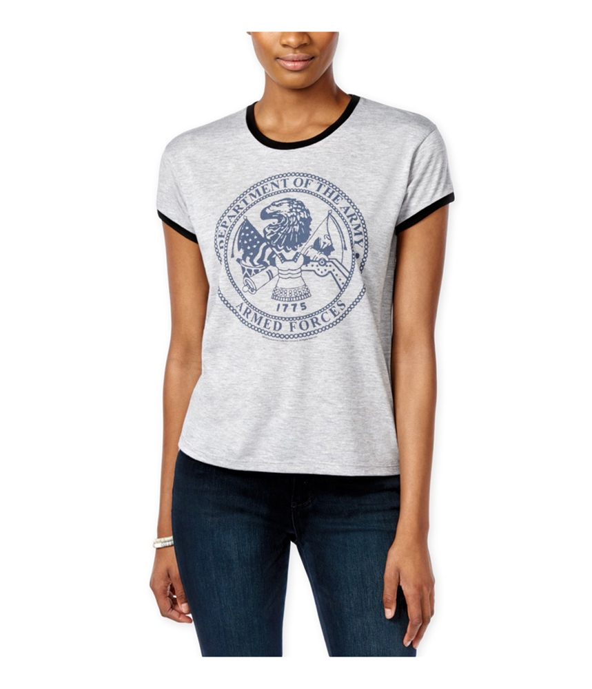 Mighty Fine Womens Navy Ringer Graphic T-Shirt