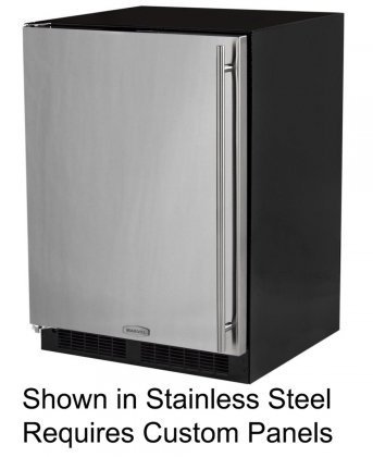 Right Hinge Stainless Steel Door AGA Marvel 25OiM-SS-F-R Outdoor Under-Counter Crescent Ice Machine 15-Inch