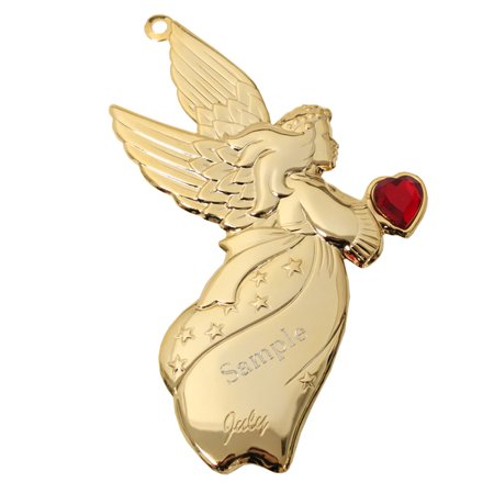 Personalized Goldtone Dapped Angel Ornament with Engraving - July - Personalized Angel Ornament