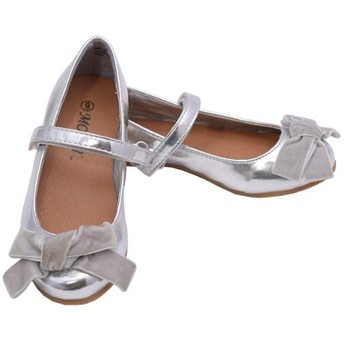 Silver Strappy Bow Knot Accented Ballerina Flats 8 Toddler
